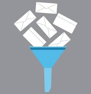 An illustration of an automated email funnel.