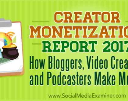 Social Media Marketing - Creator Monetization Report 2017: How Bloggers, Video Creators, and Podcasters Make Money