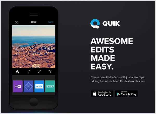 Quick for mobile automatically creates videos for stories.