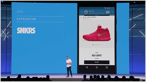 Molly Pittman says Facebook F8 developer conference showcases future uses of chatbots. The conference previewed a sneaker shopping feature with augmented reality in Messenger.