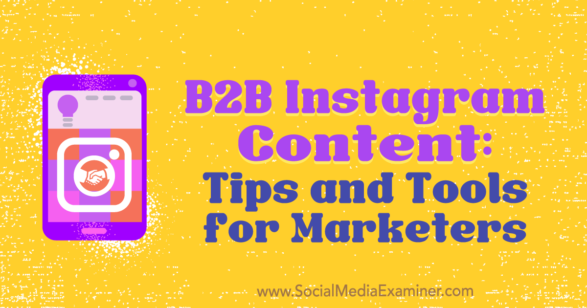 Social Media Marketing - B2B Instagram Content: Tips and Tools for Marketers