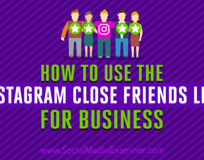 Social Media Marketing - How to Use the Instagram Close Friends List for Business