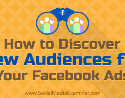 Social Media Marketing - How to Discover New Audiences for Your Facebook Ads