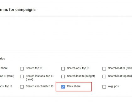 PPC - Google Ads bringing click share to Search campaign competitive metrics