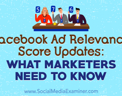 Social Media Marketing - Facebook Ad Relevance Score Updates: What Marketers Need to Know