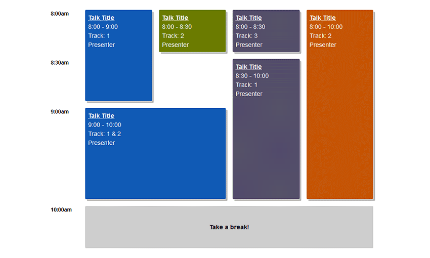 Example of Building a Conference Schedule with CSS Grid