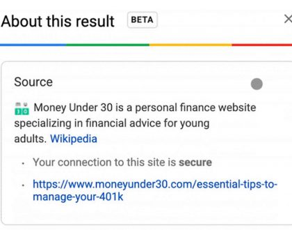 PPC - Google Search launches about this result feature